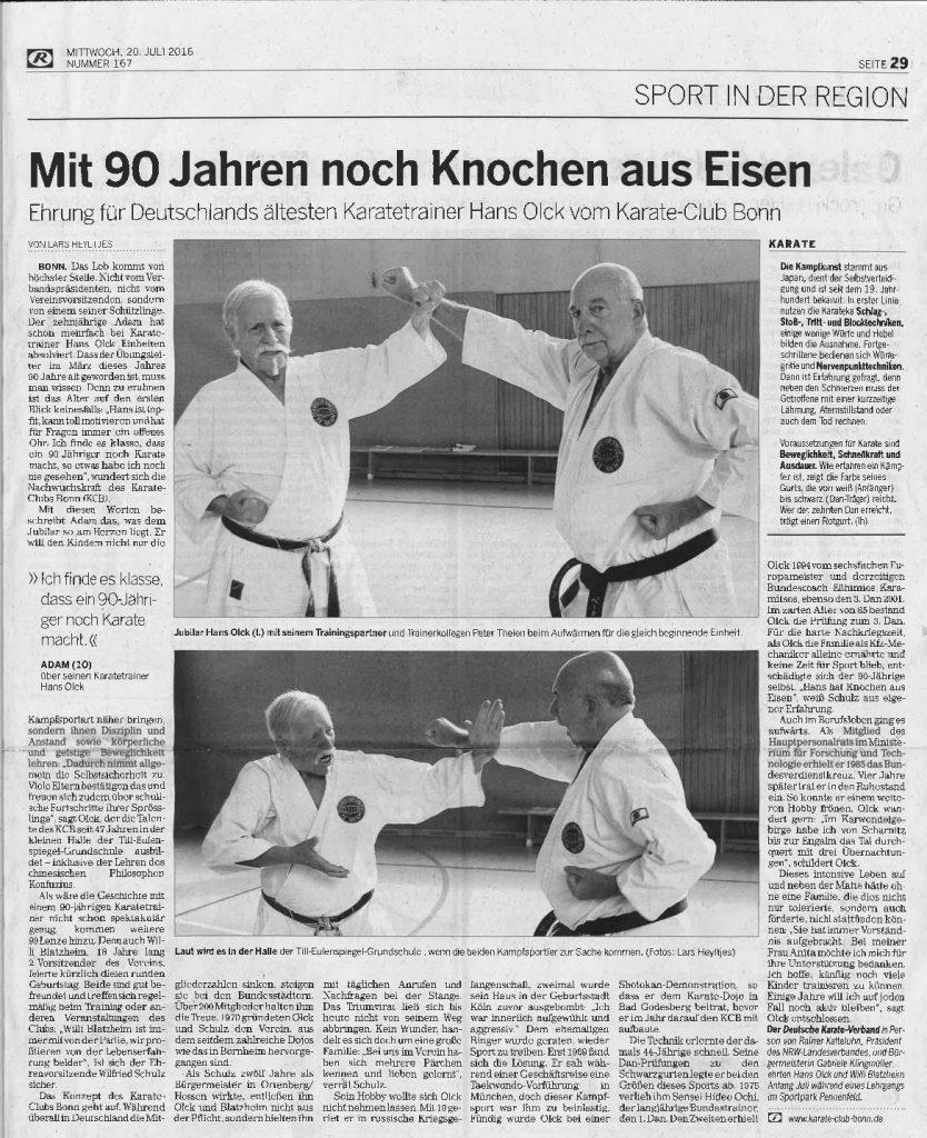Zeitungsbericht Bonner Rundschau Hans